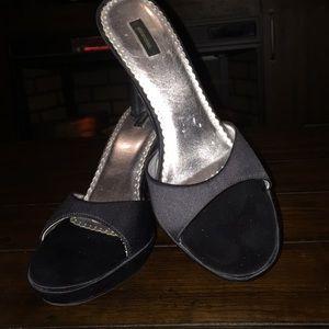 Black sexy slide heels